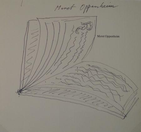 """Aucune Technique Oppenheim - Widmungszeichnung eines aufgeschlagenen Buches mit Initial R. auf dem Vortitel eines Buchs mit gedrucktem Namen """"Meret Oppenheim"""""""