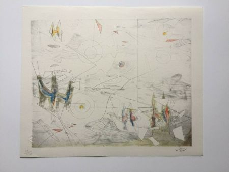 Lithographie Matta - Wings of light (from Morfolgie Verbali)