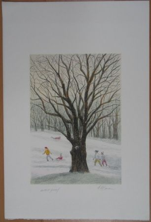 Lithographie Altman - Winter in the Park