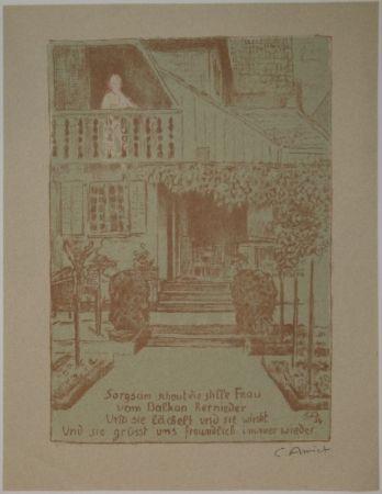 Lithographie Amiet - Wohnhaus des Künstlers auf der Oschwand