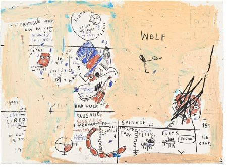 Sérigraphie Basquiat - Wolf Sausage