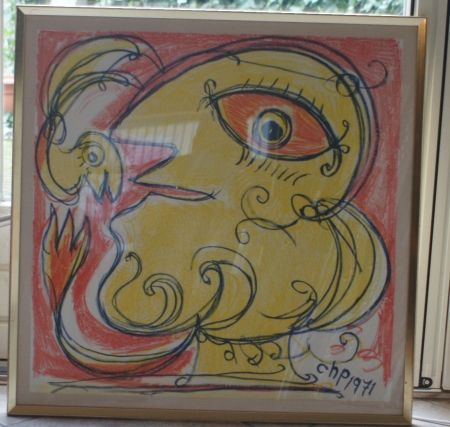 Lithographie Pedersen - Woman and bird, reduced price!