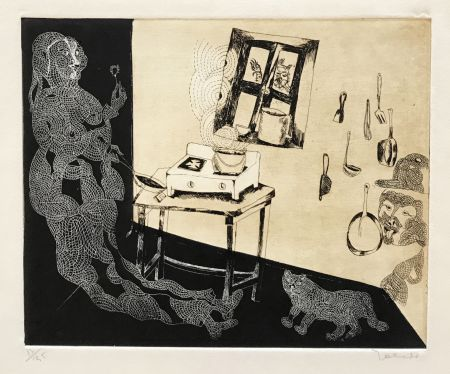 Gravure Toledo - Woman and Cat in Kitchen