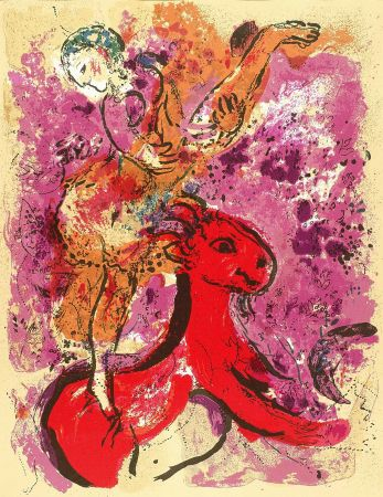 Lithographie Chagall - Woman Circus Rider On Red Horse