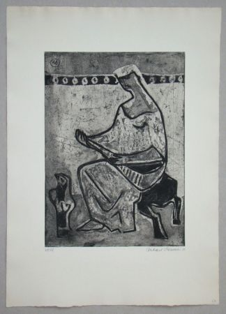 Eau-Forte Et Aquatinte Schlotter - Woman with mandolin