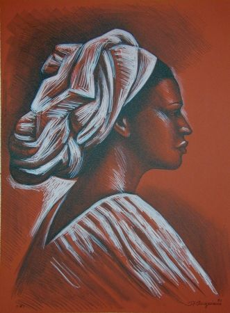 Lithographie Anguiano - Woman with turban