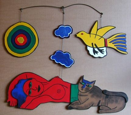 Multiple Corneille - Women in the sky, large painted wood
