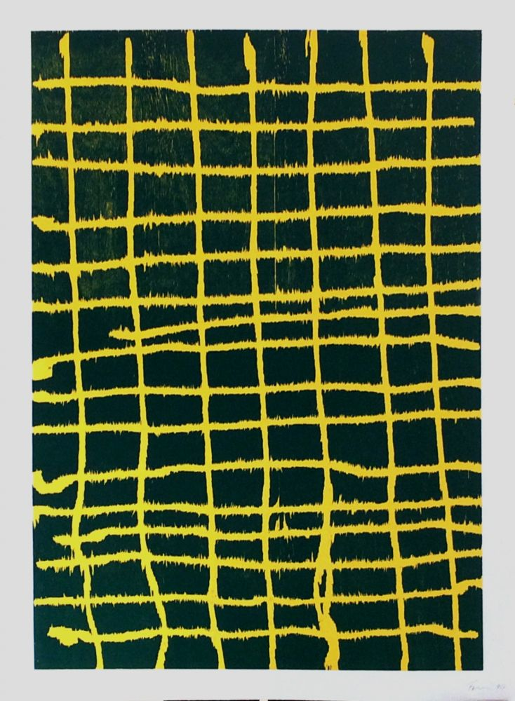 Gravure Sur Bois Forg - Woodcut Yellow Green