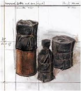 Lithographie Christo - Wrapped Bottle and Cans (Project)