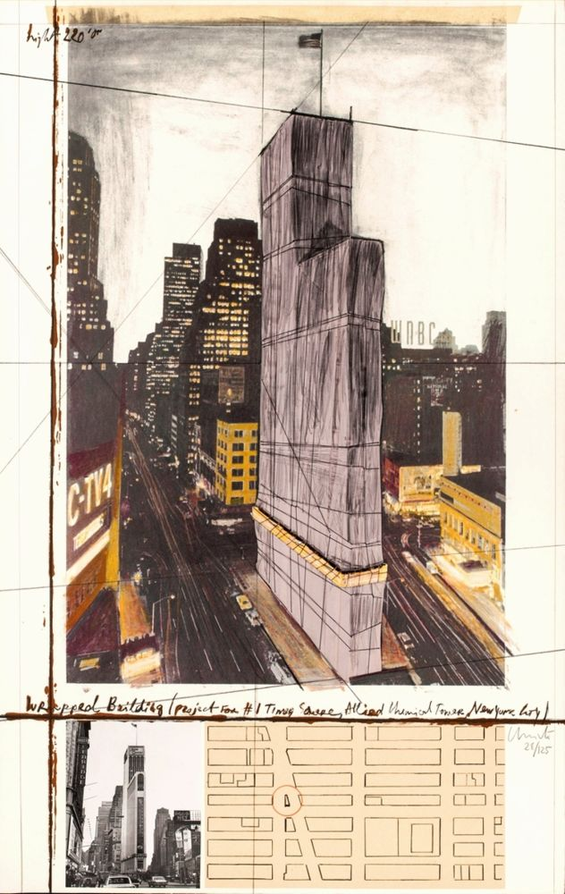 Multiple Christo - Wrapped Building, Project for #1 Times Square, Allied Chemical Tower, New York City