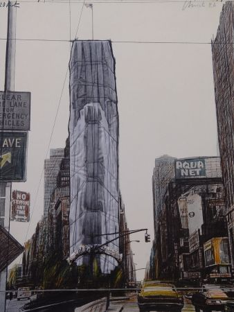 Multiple Christo - Wrapped building/Project for #1 Times Square/Allied Chemical Tower