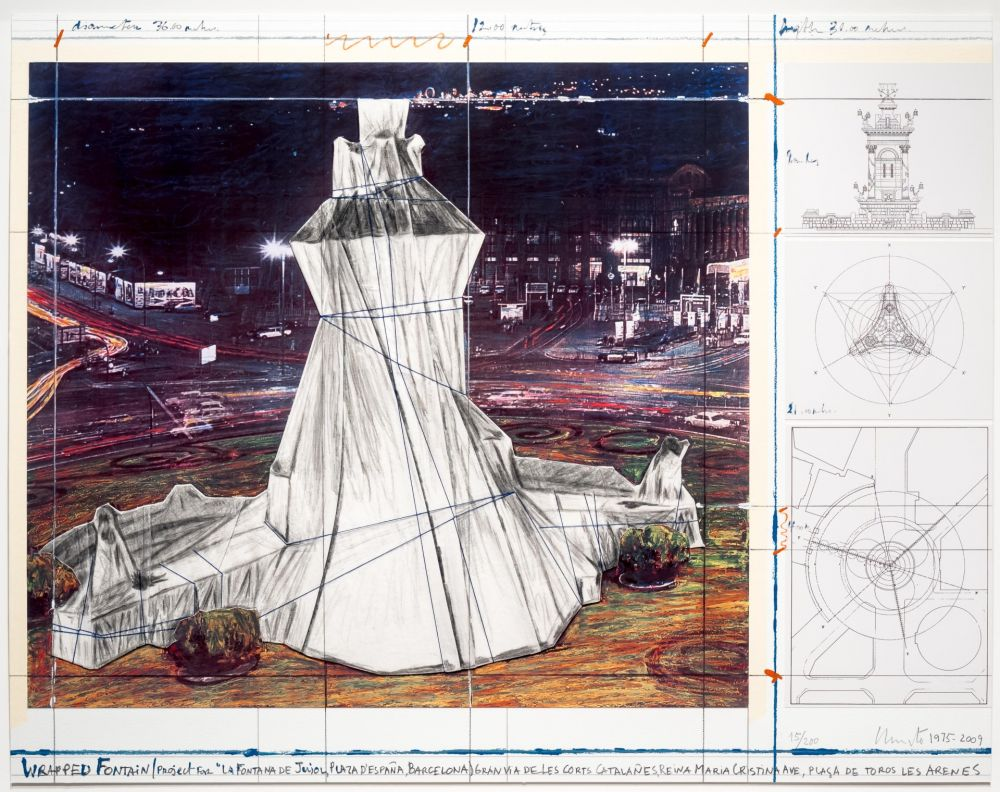 Lithographie Christo - Wrapped Fountain