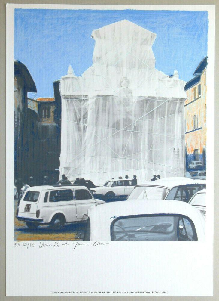Lithographie Christo - Wrapped fountain, Spoleto 1968