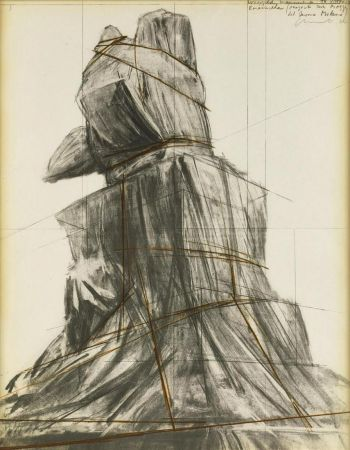 Lithographie Christo - Wrapped monument to Vittorio Emanuele