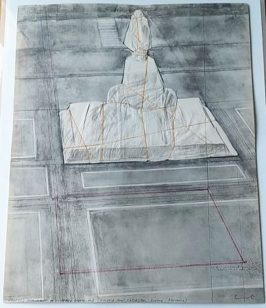 Lithographie Christo - Wrapped monument to Vittorio Emmanuele