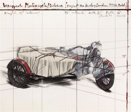 Lithographie Christo - Wrapped Motorcycle/Sidecar
