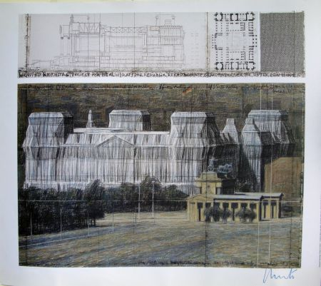 Sérigraphie Christo - Wrapped Reichstag VI