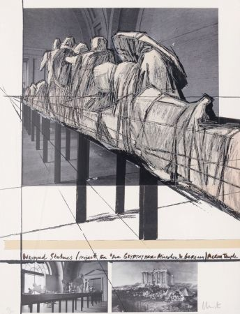 Sérigraphie Christo - Wrapped Statues - Project for Der Glyptothek