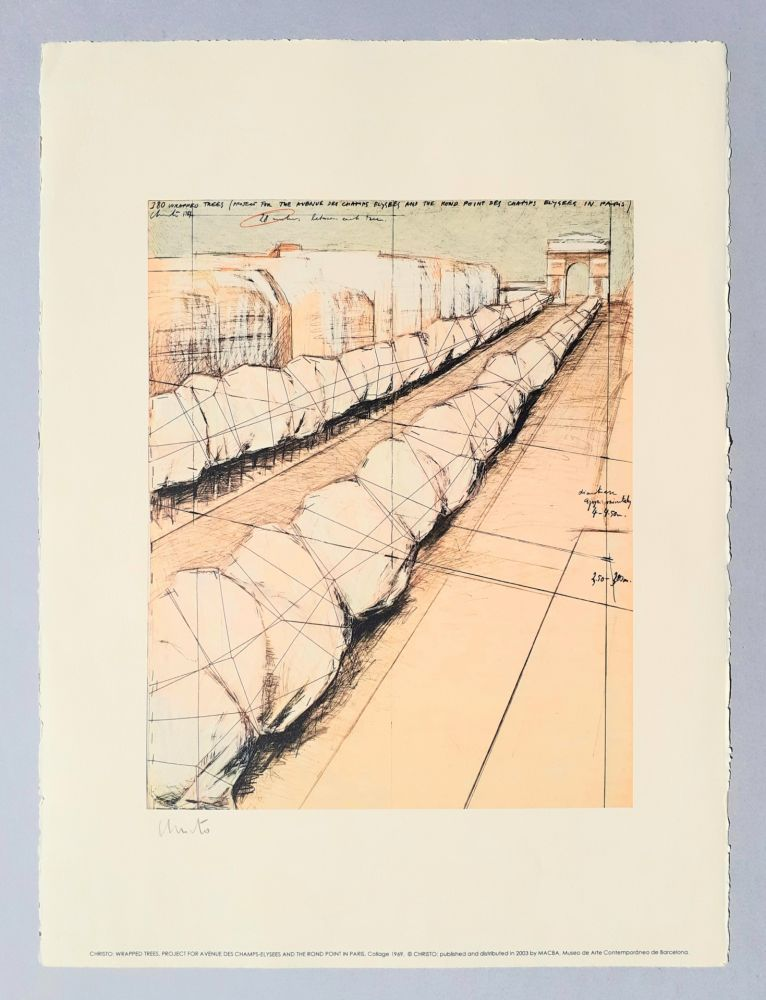 Lithographie Christo - Wrapped trees, project for Avenue des Champs Elysees