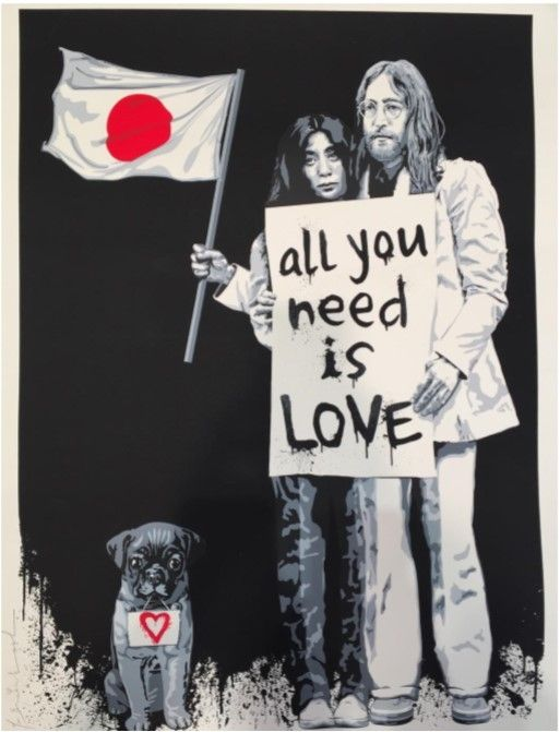 Sérigraphie Mr Brainwash - Yoko Ono and John Lennon