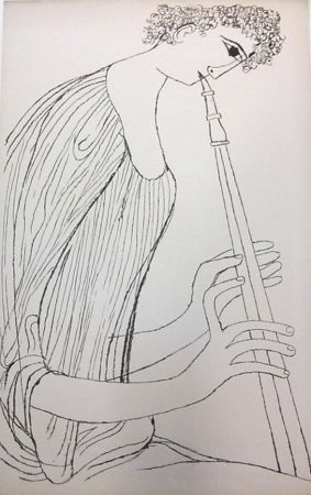 Lithographie Shahn - Young Man Playing Double Oboe