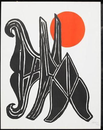 Lithographie Calder - Young Woman And Her Suitors