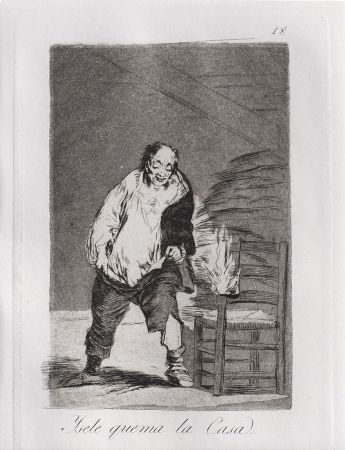 Eau-Forte Et Aquatinte Goya - Ysele quema la casa / And His House Burns Down