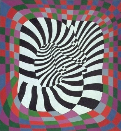 Lithographie Vasarely - Zèbres