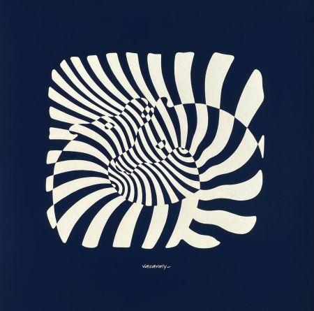 Sérigraphie Vasarely - Zèbres sur fond bleu