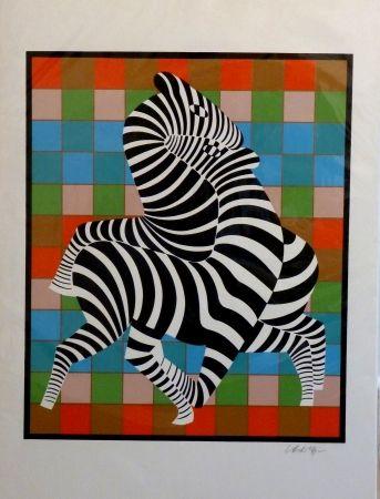 Sérigraphie Vasarely - Zebres