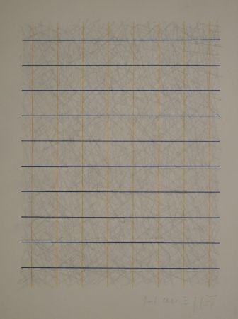 Aucune Technique Honegger - Zeichnung in Bleistift und Rapidograph in Blau und Orange.