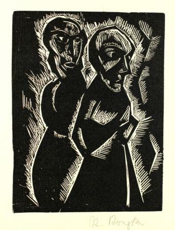 Gravure Sur Bois Koepke - Zwei Frauen (Two Women)
