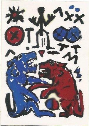 Sérigraphie Penck - Zwei Lowen