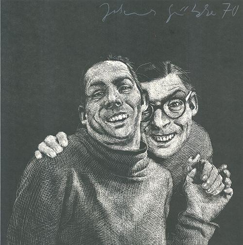 Linogravure Grützke - Zwei Männer