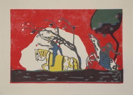 Gravure Sur Bois Kandinsky - Zwei Reiter vor Rot.