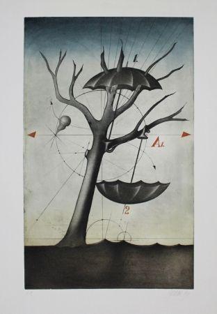 Eau-Forte Et Aquatinte Janak - Zwei Schirme
