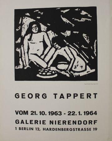 Gravure Sur Bois Tappert - Zwei sitzende Mädchenakte
