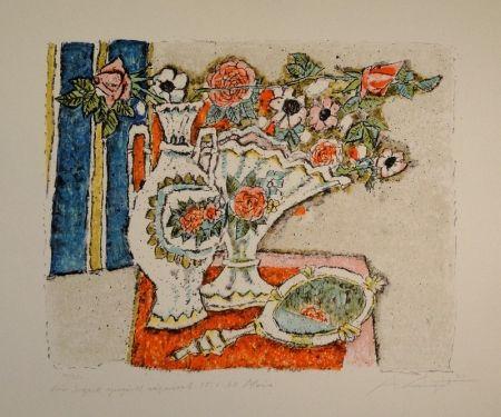 Lithographie Carigiet - (Zwei Vasen mit Rosen