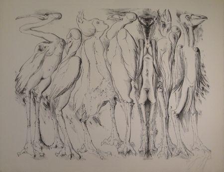 Lithographie Grass - Zwischen den Vögeln